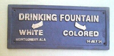 Black Segregation Sign Drinking Fountain White / Colored Cast Iron