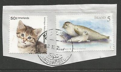 ICELAND 2010/2017  TWO STAMPS ON A PIECE,SCOTT  1243 + 1505, USED (o)