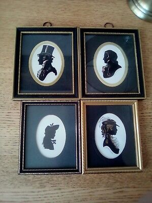Three enid linder and one silhouette signed f r vintage hand tinted free postage