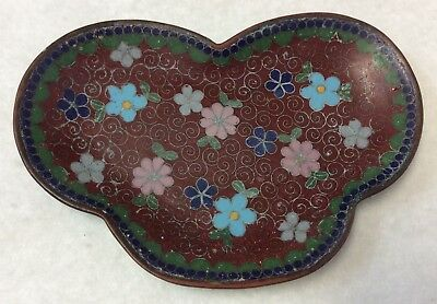 Antique Japanese Cloisonne Pin Tray ~ 5x3 Inches ~ Heart Shaped Floral Vintage