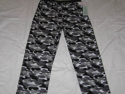 Boys XL CALVIN KLEIN Gray, Black & White Camo Flannel Sleep Pajama Pants NWT