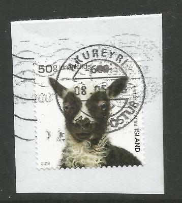 ICELAND 2018  50g YOUNG DOMESTIC ANIMAL ON A PIECE,SCOTT  1529, USED (o)