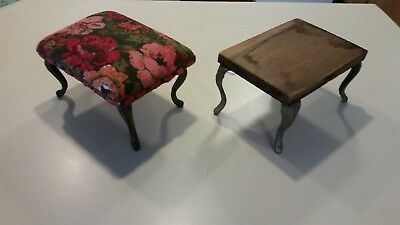 2 Antique Victorian Foot Stools Rest With Cast Iron Legs