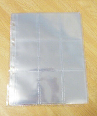 10 x Clear Plastic Sleeves - Trading Cards, 9 Pocket, Album Sleeves, Collector