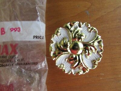 4 NOS Vtg French Provincial Gold/White Floral Cabinet Knob Drawer Pull Ajax #993