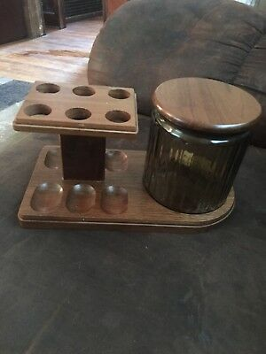 Vintage 6 Pipe Holder Stand Rack Rare Tobacco Holds 6 Pipes With Glass Humidor