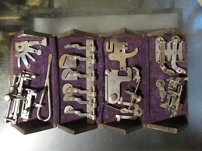 Folding Oak Puzzle Box Pat 1889 with SINGER Sewing Machine Accessory Parts
