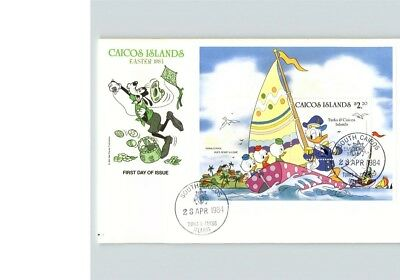 Disney; GOOFY, Donald Duck with Nephews, 1984 Caicos Islands, stamp First Day of