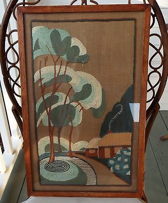 Superb Art Deco Hand Embroidery Clarice Cliff Design Style Panel Wall Hanging
