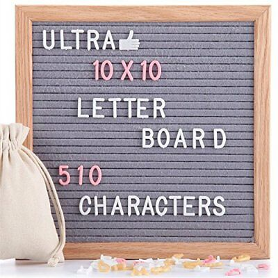 Felt Letter Board Gray 10x10 Inches with Stand, 510 PCS Changeable Letters & Oak