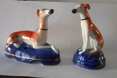 2 Small Whippet/ Greyhound Staffordshire Figurines