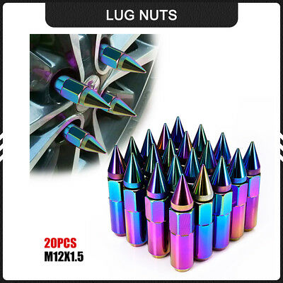 20pcs Chrome Wheels Lug Nuts M12X1.5 Cap Spiked Extended Tuner 60mm Aluminum US#