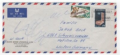 1971 NIGERIA Air Mail Cover LAGOS to SCHWEISWEILER GERMANY Commercial SLOGAN