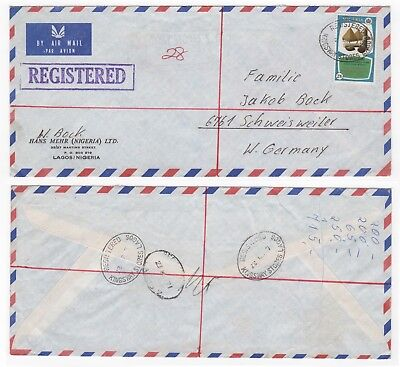 1971 NIGERIA Registered Air Mail Cover KINGSWAY LAGOS to SCHWEISWEILER GERMANY