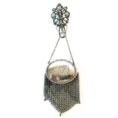 Antique Vintage Sterling Silver Chatelaine Engraved Mesh Purse Bag 19th Century