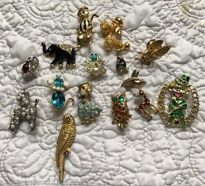 Lot Of 15 Vintage Figural Brooches- Dig, Owl, Bird...