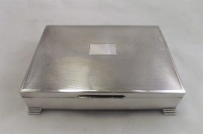 Large Solid Sterling Silver Cigar / Cigarette Box / Trinket Box 1959 - Viners