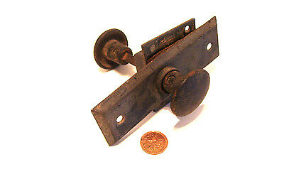 Small Iron Door Knob Set One Backplate and Lock - 1891 - Antique Hardware