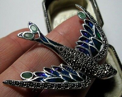 Assay Hallmarked Sterling Silver Plique A Jour Enamel Swallow Gem Stone Brooch