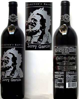 Rare Jerry Garcia Grateful Dead Silver Etched Unopened Wine Bottle