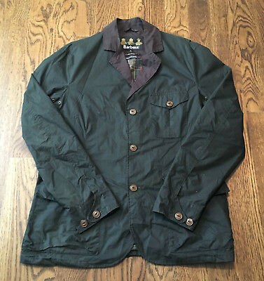 Barbour Stanley Waxed Jacket Mens XL Olive Green EUC Original Tartan