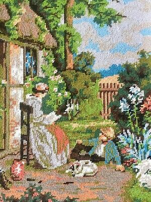 "Vintage Hand Embroidered Needlepoint Panel Old Master The Story Book 19"" x 24"""