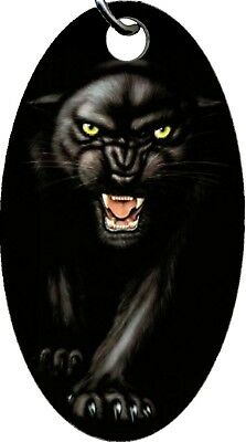 Black Panther Ferocious Fangs Aluminum Oval Keychain Key Chain NEW COOL!