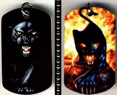 """Black Panther Fire Color Photo Aluminum Dog Tag Necklace w/30"""" Ballchain NEW"""