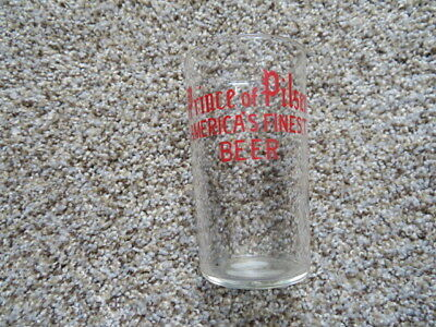 PRINCE OF PILSEN Enamel Beer Shell style glass, NEW ATHENS IL ILLINOIS 1930s