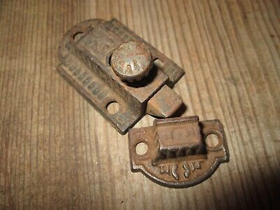 Antique Cast Iron Cabinet Cupboard Door Latch & Keeper HARDWARE