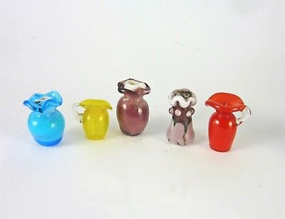 Werth Estate Sale Dollhouse Miniature Lot of 5 Glass Vases & Pitchers