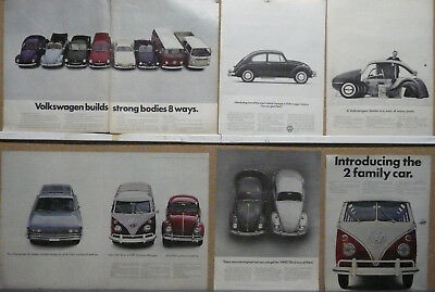 VW-Volkswagen Beetle Bug Bus Ad Lot (16) Print Ads 1962 1965 1966 1967 1968
