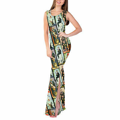 Haunted Mansion Stretch Paintings Fitted Split Maxi Dress Sizes XS - 5XL