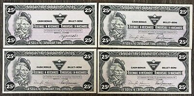 Lot of 4x 1985 Canadian Tire 25 Cents Notes ***Crisp Uncirculated*** CTC-S7-D