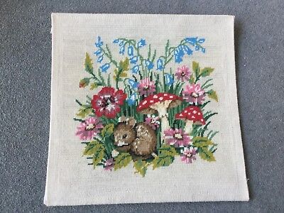 "Vintage Hand Embroidered Needlepoint Panel Woodlan Dormouse Toadstools 17"" x 17"""