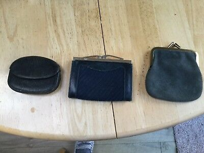3 leather/suede antique coin purses