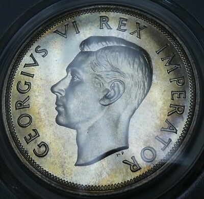 1947 South Africa 5 Shillings Certified PCGS PR64 Silver Coin