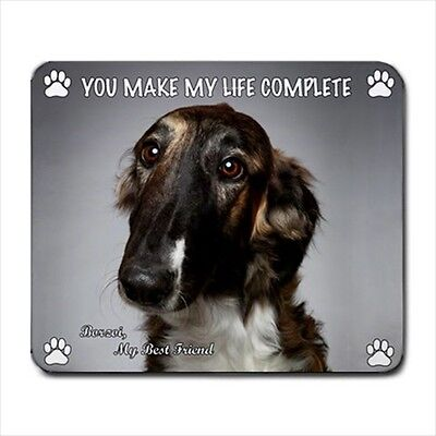 BORZOI MOUSE PAD Rubber Mat Russian Wolfhound Dog Portrait Art Memorial Gifts