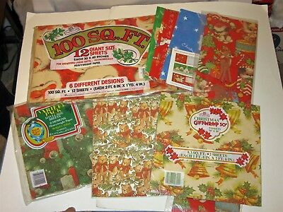 Vtg Lot Over 210 Sq Ft Christmas Gift Wrapping Paper Sheets Papercraft toy shop