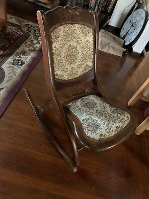 Vintage Wooden Brown Folding Rocking Chair Needlepoint Back & Seat Cushion