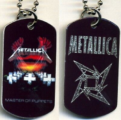 """Metallica Rock N Roll Color Logo Aluminum Dog Tag Necklace w/30"""" chain NEW"""