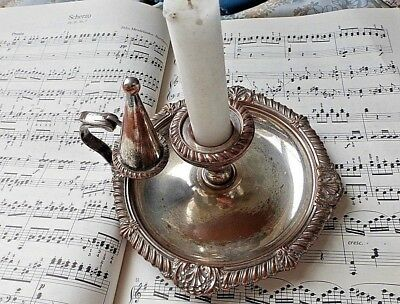 Antique Sheffield Plate Chamberstick Candle Holder with Snuffer