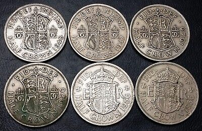 Lot of 6x Great Britain UK Half Crown Coins - Dates: 1940 to 1956
