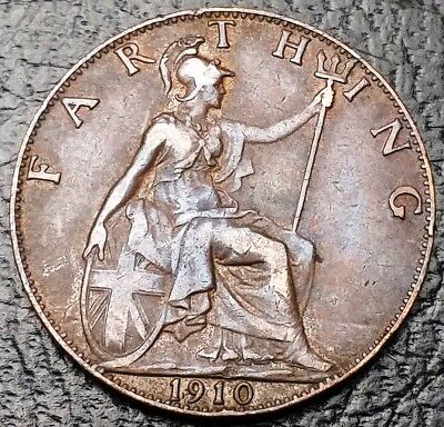 1910 Great Britain UK Farthing Coin KM# 792 - Great Condition