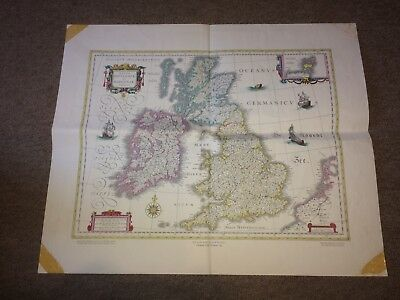 Antique Map of Great Britain & Ireland Willem And Johan Blaeu Dutch colour
