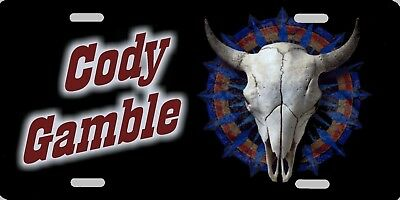 Personalized Custom Bull Cow Skull Country Western Style Aluminum License Plate