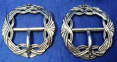 Lovely Pair Of Edwardian Solid Silver Oval Bar Buckles~ Samuel Jacob London 1905