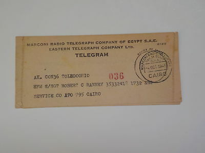 WWII Marconi Radio Telegraph Co. Of Egypt Cairo 1945 Soldier VTG Old WW II WW2