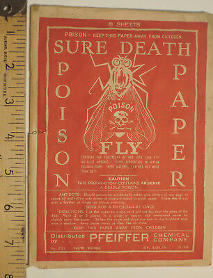 Sure Death Antique Poison Fly Paper Pfeiffer Chemical Co.