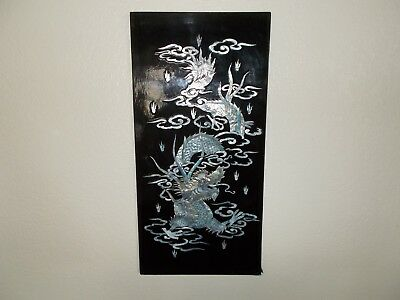 Oriental handcrafted black lacquer mother of pearl inlaid Dragon wall plaque